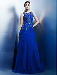 cheap -A-Line Boat Neck Floor Length Chiffon / Beaded Lace Cut Out Prom / Formal Evening Dress with Appliques by TS Couture®