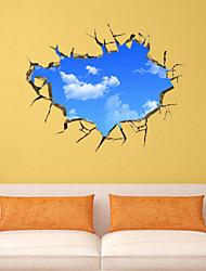 Ciel bleu stickers muraux murale de style de décalcomanies 3d et les nuages blancs pvc stickers muraux