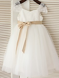cheap -A-Line Tea Length Flower Girl Dress - Lace Tulle Short Sleeves Scoop Neck with Bow(s) Sash / Ribbon by LAN TING BRIDE®