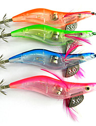 Hengjia LED Squid Jig Fishing Lures 4pcs/Set 105mm 15g (Color Assorted)