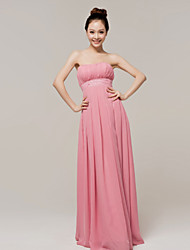 cheap -A-Line Strapless Floor Length Chiffon Bridesmaid Dress with Sash / Ribbon by LAN TING Express