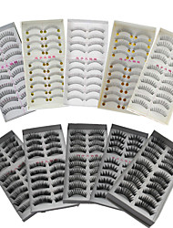 cheap -100Pairs Natural Long Thick Black False Eyelash Eyelashes Extensions Handmade Individual Lashes Makeup Eyelashes