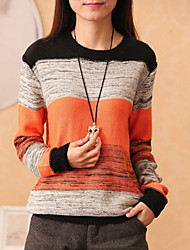 cheap -Women's Regular Pullover,Color Block Round Neck Long Sleeves Cotton Linen Others Fall Medium Micro-elastic