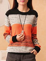 preiswerte -Damen Standard Pullover Einfarbig Blau Orange Rundhalsausschnitt Langarm Baumwolle Leinen Andere Herbst Mittel Mikro-elastisch