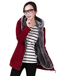 cheap -Women's Maternity Daily Casual Hoodie Jacket Solid Hooded Inelastic Polyester Spandex Long Sleeve Winter