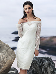 cheap -Sheath / Column Off-the-shoulder Knee Length Lace Wedding Dress with Lace by LAN TING BRIDE®