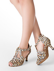 Women's Latin Ballroom Satin Heel Buckle Customized Heel Leopard Customizable