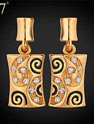 cheap -U7® Women's New Earrings High Quality 18K Gold Plated Jewelry Clear Rhinestone Platinum Plated Dangle Earrings