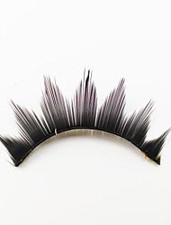 cheap -1 Eyelashes lash Full Strip Lashes Eyes Machine Made Fiber Black Band 0.05mm 13mm