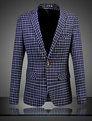 Men's Casual/Daily Party Vintage Simple Spring Fall Blazer,Print Notch Lapel Long Sleeve Regular Cotton Polyester Oversized