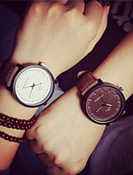 cheap -Men's Women's Couple's Quartz Wrist Watch Casual Watch PU Band Vintage Fashion Brown