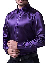Masculino Camisa Social Casual Trabalho Formal Tamanhos GrandesSólido Algodão Raiom Manga Longa