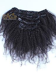 """baratos -6a cabelo cambojano Kinky clipe crespo em extensões de cabelo humano grampo de cabelo humano em extensões 10 """"-26"""""""
