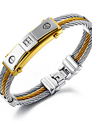 cheap -Men's Stainless Steel Gold Plated 18K Gold Chain Bracelet - Personalized Luxury Multi Layer Hip-Hop Round Gold/Silver Bracelet For