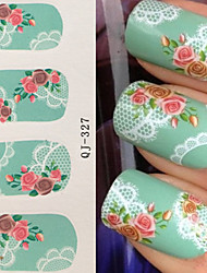 cheap -water transfer printing lace rose nail stickers