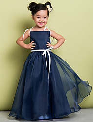 cheap -A-Line Floor Length Flower Girl Dress - Organza Sleeveless Spaghetti Strap with Bow(s) by LAN TING BRIDE®