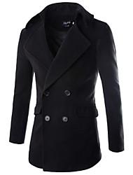 cheap -Men's Solid Casual Coat,Faux Fur / Cotton Long Sleeve-Black / Blue / Red