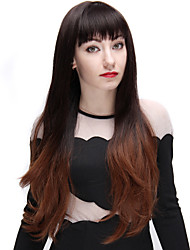 Ombre Wig Black and Light Brown 28 Inch Long Fashion Wave Synthetic Wigs with Full Bangs