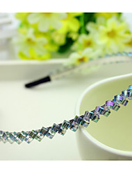 cheap -South Korea Imported Hairpin Rhinestone Beaded Head Hoop Decorations Double Row Crystal Hair Band Purple