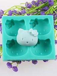 quatro cabeças de animais fondant de chocolate moldes de silicone bolo, ferramentas de decoração bakeware
