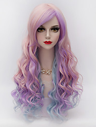 cheap -Wigs for Women Pink Purple Blue Mixed Long Curly Costume Wigs Cosplay Wigs