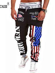 abordables -Hombre Clásico Corte Recto Activo Pantalones de Deporte Pantalones - Estampado A Cuadros Color sólido