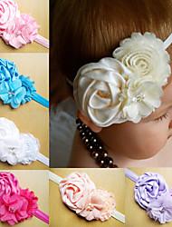 cheap -Infant Headbands Shabby Chic Flowers Pearl Rhinestone Chiffon Flowers Baby Headband Girls Hair Accessories
