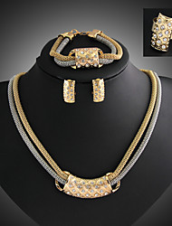 cheap -Women's Jewelry Set Cute Party Link/Chain Fashion Color Block Party Special Occasion Anniversary Birthday Gift Cubic Zirconia Gold Plated