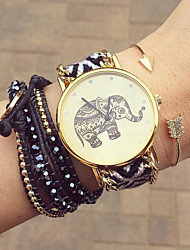 cheap -Women's Bracelet Watch Handmade / Casual Watch Fabric Band Flower / Bohemian / Fashion Black / One Year / Tianqiu 377