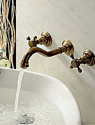 cheap -Bathroom Sink Faucet - Widespread Antique Copper Wall Mounted Three Holes Two Handles Three Holes