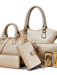 economico -Donna Sacchetti PU (Poliuretano) Borsa a tracolla Tote Pochette Portafoglio Porta carte di credito sacchetto regola Set di borse da 5