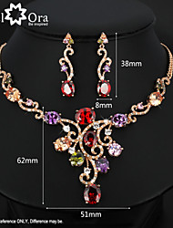 cheap -Jewelry Set Vintage Cute Party Work Elegant Colorful Party Cubic Zirconia Gold Plated Necklace Earrings