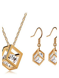 cheap -Synthetic Diamond Jewelry Set - Zircon, Cubic Zirconia Dainty, Luxury, Party Include Gold For / Earrings / Necklace