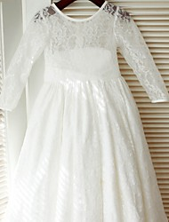 cheap -A-Line Floor Length Flower Girl Dress - Lace Satin Long Sleeves Jewel Neck with Bow(s) Sash / Ribbon by LAN TING Express
