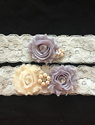 cheap -Garter Lace Flower/Imitation Pearl/Rhinestone Ivory Wedding Accessories