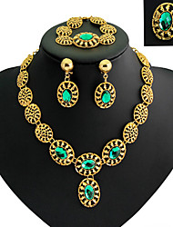 cheap -Synthetic Diamond Jewelry Set - Cubic Zirconia, Gold Plated, Imitation Diamond Statement, Luxury, Vintage Include Rings Set Gold For / Earrings / Necklace