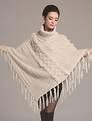 cheap -Faux Fur Sweater Orlon Party Evening Casual Hoods & Ponchos With Button Tassel Capes
