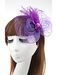 cheap -Tulle Feather Fascinators Flowers Hats Hair Clip 1 Wedding Special Occasion Casual Outdoor Headpiece