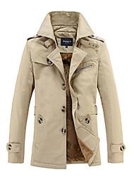 cheap -Men's Long Sleeve Long Trench coat , Cotton Pure Fleece Lining Plus Sizes coat