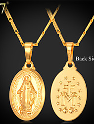 cheap -U7® Unisex Virgin Mary Necklace New Trendy Platinum/18K Real Gold Plated Colar Cross Pendant Necklace