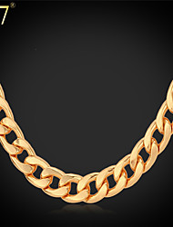 cheap -U7® Men's Retro Cuban Link Chains 18K Gold/Rose Gold/Platinum Plated Men Jewelry Classical Chain Necklaces