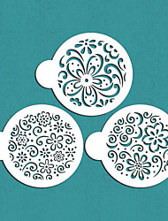 Valentine's Gift Color Splash Cookie Stencil Set,Flower Cake Decorating,ST-601