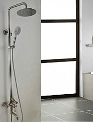 Недорогие -Смеситель для душа - Современный Матовый никель Душевая система Керамический клапан Bath Shower Mixer Taps / Нержавеющая сталь / Одной ручкой три отверстия