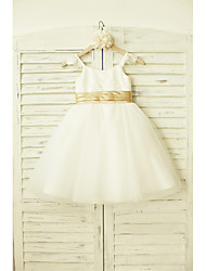 A-Line Knee Length Flower Girl Dress - Lace Tulle Sleeveless Straps with Ribbon by thstylee