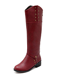 baratos -Mulheres Sapatos Courino Outono / Inverno Salto Robusto 35.56-40.64 cm / Botas Cano Alto Preto / Marron / Vermelho