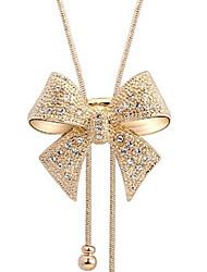 Feminino Colares com Pendentes Formato de Laço imitação de diamante Liga Elegant Jóias de Luxo Dourado Jóias Para