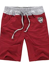 billige -Herre Aktiv Bomuld Løstsiddende Aktiv Shorts Joggingbukser Bukser Ensfarvet