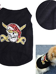 Katze Hund T-shirt Hundekleidung Cosplay Hochzeit Totenkopf Motiv Schwarz