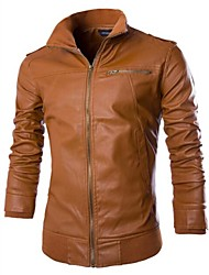 cheap -Men's Daily Casual Street chic Spring Fall Fur Coat,Solid Long PU
