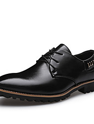 cheap -Men's Shoes Leatherette Spring Fall Formal Shoes Oxfords Walking Shoes Beading Lace-up for Wedding Casual Party & Evening Black Dark Brown